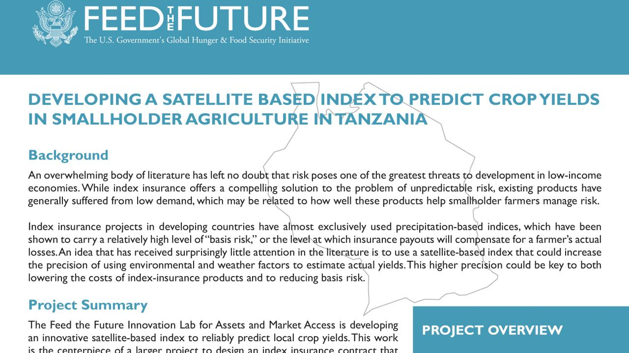 Developing a Satellite-based Index to Predict Crop Yields in