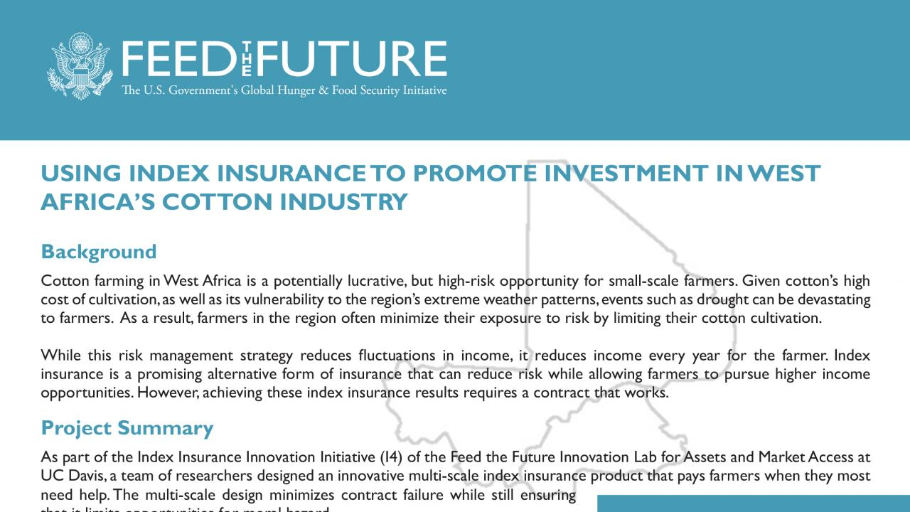 Using Index Insurance to Promote Investment in West Africa's ...